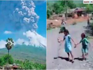 Gunung Ile Lewotolok Erupsi Besar, Anak-anak Berlarian Ketakutan