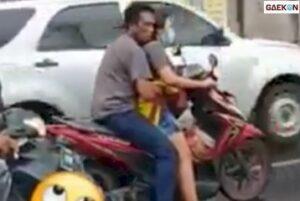 Pasangan Ini Pamer Aksi Cabul Di Jalan, Tangan Pria Masuk Celana Cewek