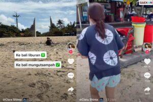 Sedih Pantai Bali Kotor, Gadis Ini Bantu Punguti Sampah