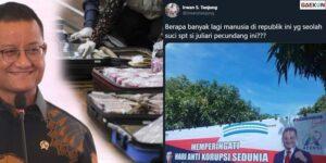 Maling Teriak Maling, Mensos Muncul Di Spanduk Peringatan Hari Anti Korupsi