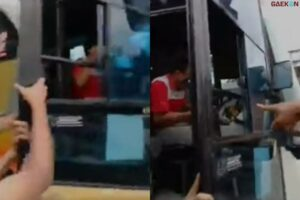 Viral Video Warga Beri Pelajaran Sopir Bus Ngeblong di Lamongan