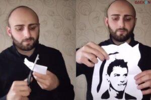 Modal Kertas Dan Gunting, Viral Seorang Pria Berhasil Bentuk Wajah Cristiano Ronaldo