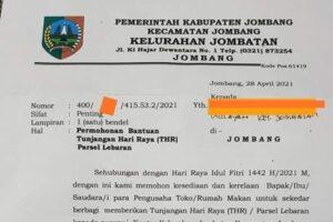 Viral, Surat Edaran Permohonan Bantuan THR Di Jombang