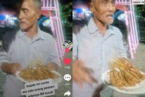 Layani Pesanan 84 Tusuk, Kakek Penjual Sate Di Surabaya Ini Ternyata Kena Tipu