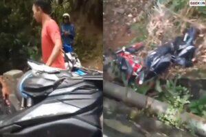 Dihajar Massa, Motor Kolektor Ini Dibuang Ke Sungai