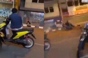Kena Batunya, Pemuda Ini Tertabrak Motor Pasca Pasangi Petasan Di Sebuah Ruko