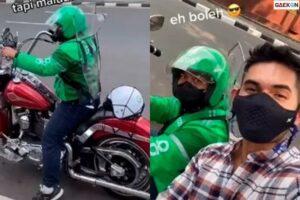 Bikin Penumpang Melongo, Driver Ojol Ini Naik Moge Harley-Davidson