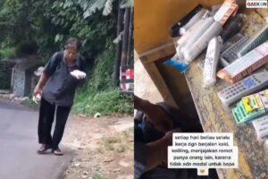 Rela Keliling Jauh, Bapak Ini Jualan Remot TV Dengan Berjalan Kaki