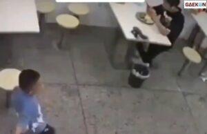 Bikin Kaget, Pria Ini Kena Pukulan Sandal Saat Makan