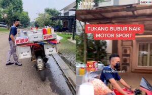 Viral Tukang Bubur Ayam Keliling Naik Motor Sport