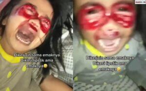 Kreatif, Ibu Ini Coret Wajah Anaknya Pakai Lipstik Bak Darah Gara-Gara Sering Main Hp