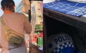 Ada Helm Polisi Digerobaknya, Pedagang Es Campur Berbadan Kekar Ini Diduga Seorang Intel