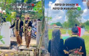 Tuai Pro Kontra, Sepasang Pengantin Ini Nekat Lakukan Sesi Foto Di Area Pemakaman