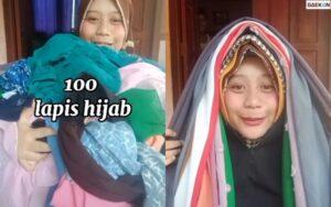 Mirip Reog Ponorogo, Perempuan Ini Jawab Tantangan Warganet Pakai Hijab 100 Lapis