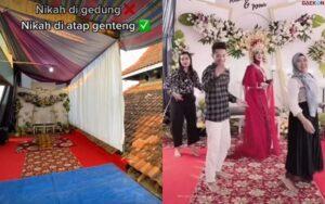 Viral, Pengantin Di Kediri Ini Gelar Resepsi Di Atas Atap Rumah