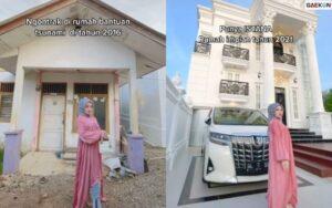 Sempat Ngontrak Di Rumah Bantuan Tsunami, Perempuan Ini Sukses Bangun Rumah Mewah Bak Istana