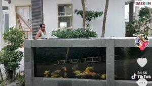 Kreatif, Pria Ini Jadikan Pagar Rumahnya Sebagai Kolam Ikan Koi