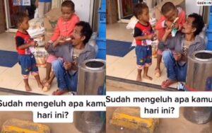 Bikin Haru, Pria Ini Makan Es Krim Dibagi Dengan 2 Anaknya