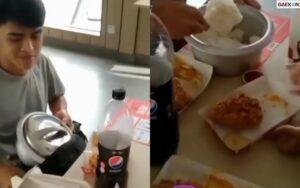 Biar Hemat, Remaja Laki-Laki Ini Bawa Nasi Sepanci Dari Rumah Saat Makan Bersama Di KFC