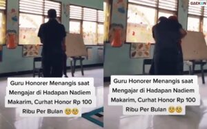Viral, Seorang Guru Honorer Di Sulteng Menangis Sambil Peluk Nadiem Makarim
